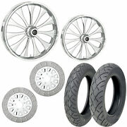 Rc Cynical Chrome 21/18 Front Rear Wheel Package Set Tires Rotors Harley Flh/t