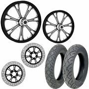 Rc Epic Eclipse 21/18 Front Rear Wheel Package Set Tires Rotors Harley Flh/t