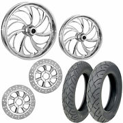 Rc Helix Chrome 21/18 Front Rear Wheel Package Set Tires Rotors Harley Flh/t