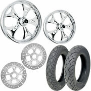 Rc Holeshot Chrome 21/18 Front Rear Wheel Package Set Tires Rotors Harley Flh/t