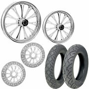 Rc Imperial Chrome 21/18 Front Rear Wheel Package Set Tires Rotors Harley Flh/t