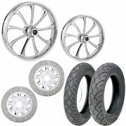Rc Revolt Chrome 21/18 Front Rear Wheel Package Set Tires Rotors Harley Flh/t