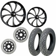 Rc Revolt Eclipse 21/18 Front Rear Wheel Package Set Tires Rotors Harley Flh/t