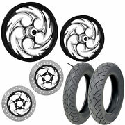 Rc Savage Eclipse 21/18 Front Rear Wheel Package Set Tires Rotors Harley Flh/t