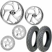 Rc Torsion Chrome 21/18 Front Rear Wheel Package Set Tires Rotors Harley Flh/t