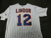 Francisco Lindor 12 Ny Mets Majestic Home Jersey Plus 4 Free Vintage Cards