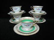 Thomas Bavaria Rosenthal Green Gold Floral 15pc Bread Plate Cup And Saucer Set