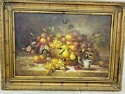 Antique Wall Oil Painting Fruit Bowl With Vintage Brass Frame