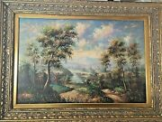 Antique Oil Painting Nature Scenery Brass Vintage Frame