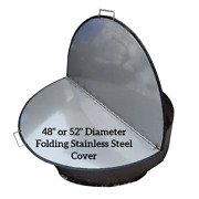 48 Diameter Folding Fire Pit Cover Lid Extra Large No Rust Stainless Steel