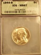 Awesome 1944-s Ms67 Jefferson Silver Nickel- Icg