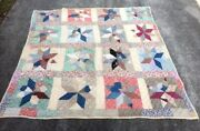 Old Quilt Hand Stitched Antique Vintage Patchwork Star Feed Sacks Signed Cutter