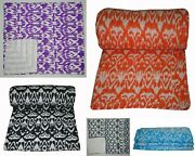 Wholesale Lot 5 Pc Handmade Ikat Kantha Quilts Vintage Cotton Twin Bed Cover