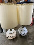 2 Mid Century 1970s Ef And Ef Hand Blown Glass Opaque Ornate Lamps With Shades