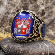 Men Family Crest Anniversary Ring Custom Made Wax Seal Signet Silver Fraternal