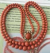 Natural Coral Double Strand 14k Yellow Gold Vintage Necklace 16 And 17 Inches Long