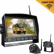 """Wireless 7"""" Monitor Car Backup Camera Rear Side View Kit Cam System Nite Vision"""