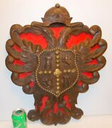 Vtg Carved Wood Coat Of Arms Double Eagle Art Wall Hanging Castle Lion