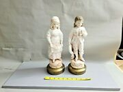 Vintage Antique Pair Of Bisque Figurines Girls From A Table Lamp 13'' T