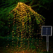 Solar Led String Lights Outdoor Waterfall Fairy Icicle Lamp Garden Halloween