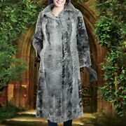 Womenand039s Gray Real Broad Tail Fur Long Coat All/custom Sizes Mink Fur Collar