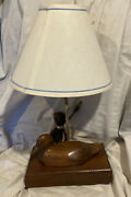 Vintage Duck Decoy Table Lamp Hand Made Wood W/ Shade And Led Bulb Ex