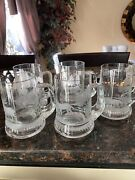 5 Vintage Krosno Poland 1960and039s Beer Mug Clear Glass With Design
