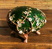 Fabergé Egg Limited Edition Trinket Box Hand Made By Keren Kopal With Crystal