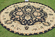 Round Hand Woven Area Rugs Tribal Turkish Flat Weave Kilim Wool Dhurrie 10x10 Ft