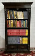 Antique Style Country French Solid Wood Bookcase Curio Cabinet Brass Handles
