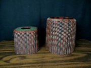 Set Of Tissue Box Cover With Matching Waste Basket Hard Plastic Brown/ Mahogany
