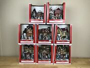 8 House Set Of Holiday Time Light Up Christmas Village Houses