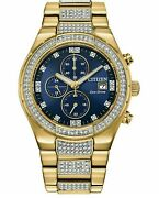 Citizen Eco-drive Men's Crystal Accent Gold Tone Stainless Steel Bracelet Watch
