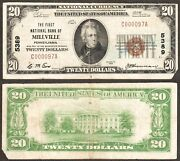 3 Known 20 1929 The Fnb Of Millville, Pa Ch-5389 Serial 97 Very Rare Vf