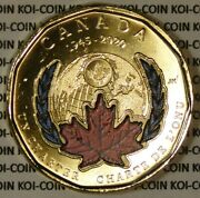 Bu Canada 1945-2020 United Nations Charter Color Painted 1 Dollar Loonie Coin