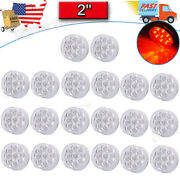 20pcs 2 Red/clear 9 Led Round Clearance Side Marker Lights Truck Trailer Lamp