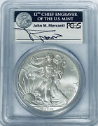 2011 W 1 American Silver Eagle Pcgs Ms70 Signed By John Mercanti