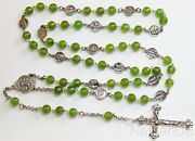 Faceted Jade And Sterling Silver Stations Of The Cross Rosary All Vintage Unique