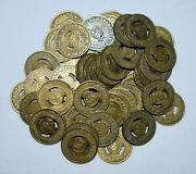 S2. Lot Of 50 Chicago Transit Authority Brass Tokens 20mm / Jewelry, Cuff Link
