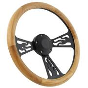 14 Steering Wheel Black Flamed And Oak Wood For 1949 1991 Ford Pick Upand039s
