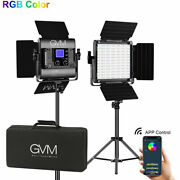 Gvm Rgb Led Video Photography Lights Panel Kit 168 Beads With Stand Wireless 40w