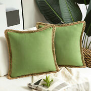 Pack Of 2 Farmhouse Throw Pillow Covers Burlap Linen Pillow Covers Trimmed Edges