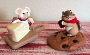 Hallmark 1987 Chocolate Chipmunk/1992 Merry Swiss Mouse Ornaments Lot Of 2