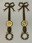 Pair French Brass Wall Sconces Plaque Etched Mirror Faces Ribbon Wreath 24andrdquo
