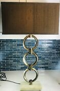 Stein World Eden Modern Table Lamp Antique Brass Linking Rings With Square Shade