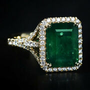2.10ct Natural Round Diamond 14k Solid Yellow Gold Emerald Wedding Cocktail Ring