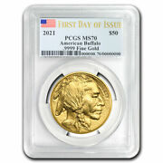 2021 1 Oz Gold Buffalo Ms-70 Pcgs First Day Of Issue - Sku225371