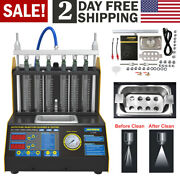 Car Motorcycle Ultrasonic Fuel Injector Cleaner Nozzle Flow Tester 6 Cylinders