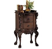 Assembled Carved Solid Wood Nightstand Brown 2-drawers Antique French Replica