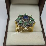 Antique 925 Silver Natural Diamond And Emerald Floral Ring Victorian Wedding Rings
